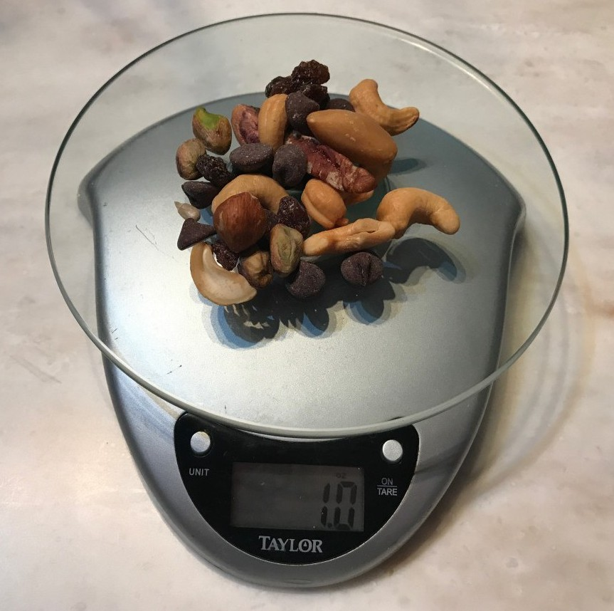 1 ounce of trail mix on food scale