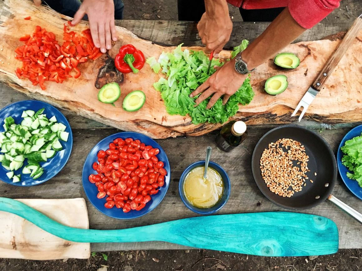 Fresh ingredients being prepared